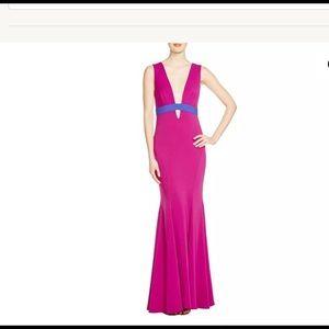 NICOLE MILLER Purple Colorblock Crepe Plunge Dress